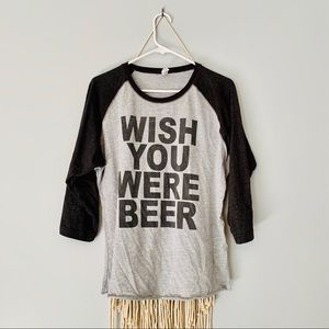 Wish You Were Beer Graphic Baseball Tee 🍻